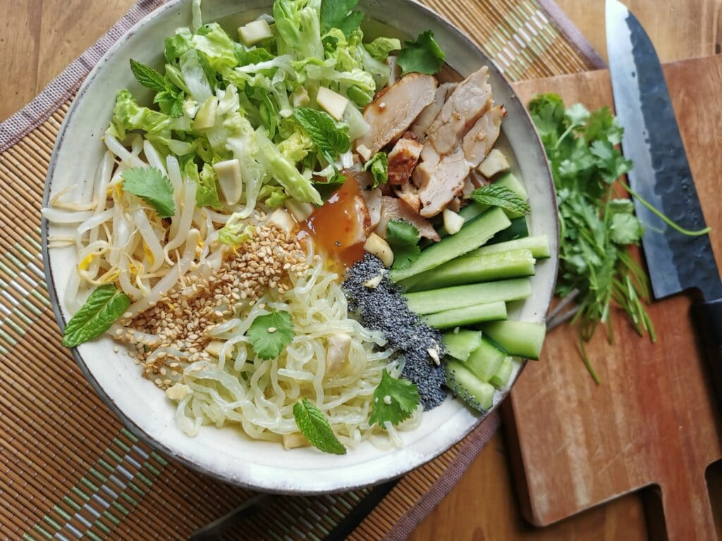 Salade asiatique préparation