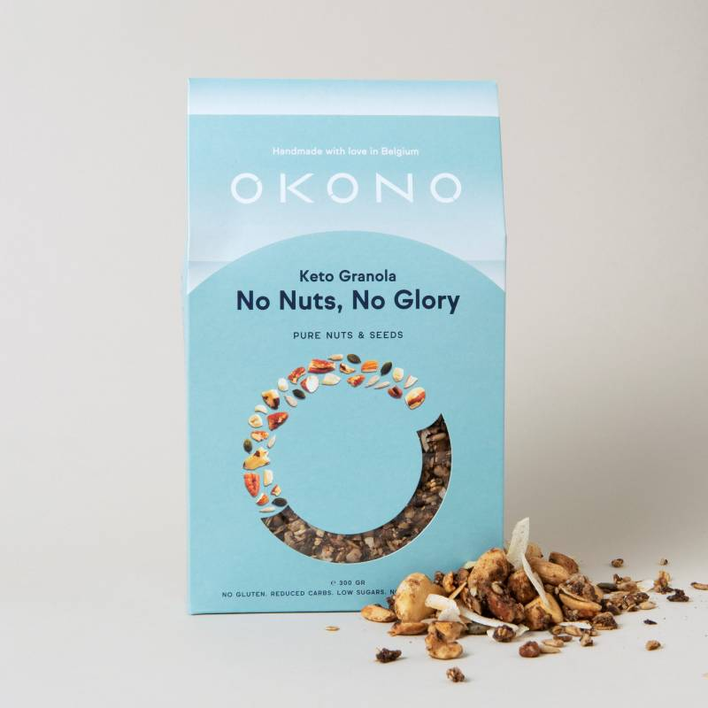 okono keto granola no nuts no glory 300 g deliceslowcarb