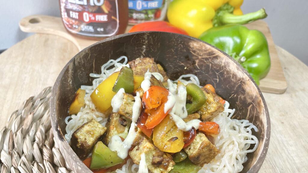 Spaghettis de konjac sautées tofu barbecue